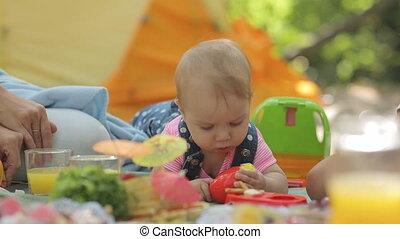 baby, zoet, picknick, gezin, haar