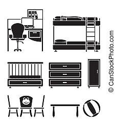 babykamer, kinderen, voorwerpen, kamer