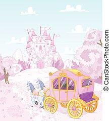 back, prinsesje, koninkrijk, wagen