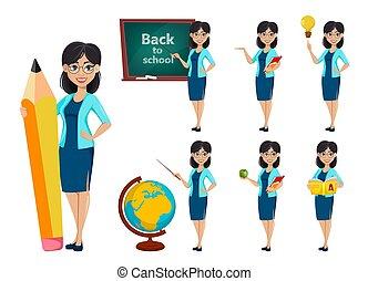 back, school., leraar, spotprent, vrouw, karakter