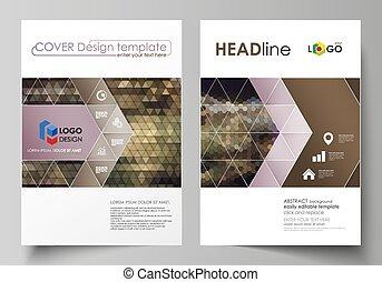 backgrounds., jaarlijks, flyer, ontwerp, driehoekig, abstract, mal, vector, a4, patterns., zeshoekig, style., geometrisch, zakelijk, opmaak, magazine, informatieboekje , size., voorbeelden, report., dekking