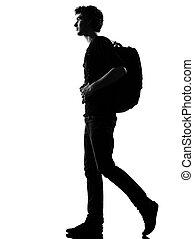 backpacker, wandelende, silhouette, jonge man