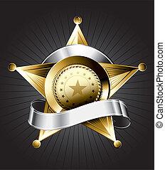 badge, ontwerp, sheriff