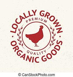 badge, silhouette, emblem., etiket, chicken, logo