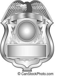 badge, zilver