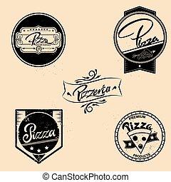 badges., set, communie, logos, ouderwetse , etiketten, vrijstaand, illustratie, vector, ontwerp, emblems, style., pizza