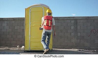 badkamer, mannelijke , arbeider, draagbaar