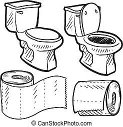 badkamer, schets, voorwerpen