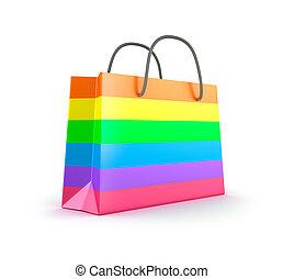 bag., kleurrijke, vrijstaand, shoppen