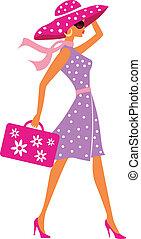 bagage, reizen, meisje, beauty