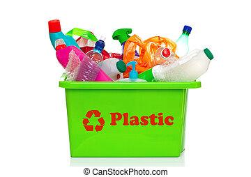 bak, recycling, vrijstaand, plastic, groen wit