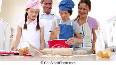 bakken, schattig, samen, familie huis