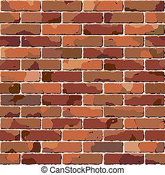 baksteen, wall., oud, seamless, texture.