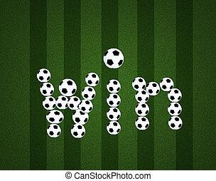 bal, akker, boodschap, achtergrond, aanzicht, voetbal, winnen, centrum, bovenzijde
