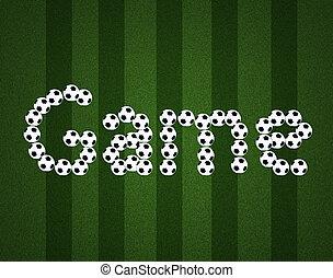bal, akker, boodschap, achtergrond, spel, aanzicht, voetbal, bovenzijde, centrum