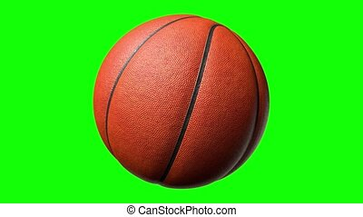 bal, alfa, channel., scherm, 3d, basketbal, het spinnen, 4k, groene, vertolking, animatie