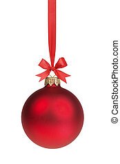 bal, boog, rood, hangend, kerstmis, lint