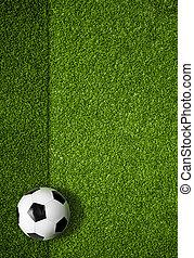 bal, bovenzijde, akker, achtergrond, voetbal, aanzicht