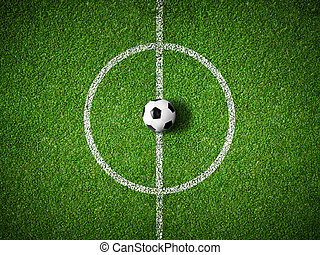 bal, centrum, bovenzijde, akker, achtergrond, voetbal, aanzicht