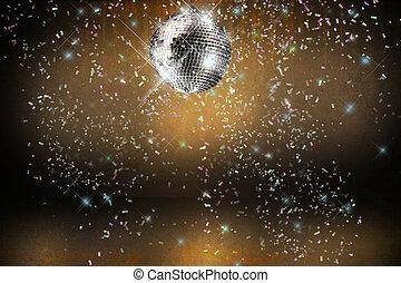 bal, disco steekt aan, achtergrond, confetti, feestje