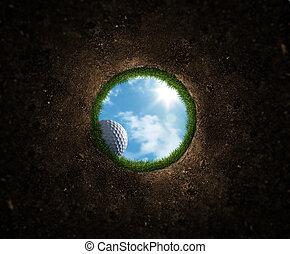 bal, golf, het vallen