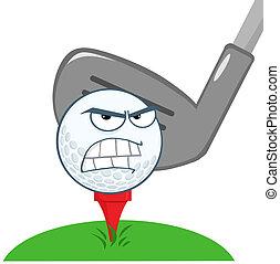 bal, golf, op, karakter, tee, boos