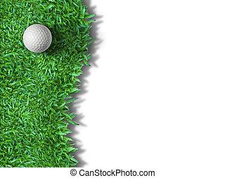 bal, golf, vrijstaand, groen wit, gras