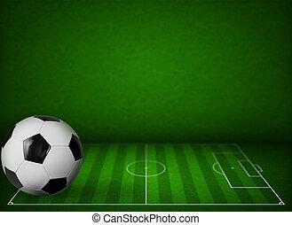 bal, gras, football veld, achtergrond, voetbal, of