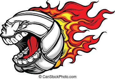 bal, het vlammen, volleybal, gezicht, vector, gegil, spotprent