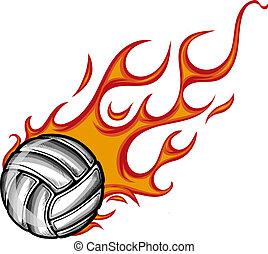bal, het vlammen, volleybal, vector, illustratie, achtergrond, witte , spotprent