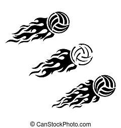 bal, het vlammen, volleybal, vector, ontwerp, logo