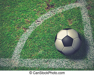 bal, hoogste hoek, voetbal, schop, aanzicht