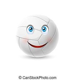 bal, karakter, spotprent, volleybal