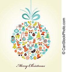 bal, kerstmis, kerstmis, achtergrond, retro
