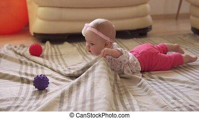 bal, kruipt, thuis, baby, vloer, speelbal