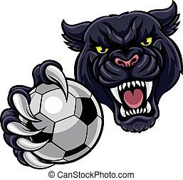 bal, panter, voetbal, black , vasthouden, voetbal, mascotte