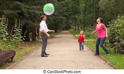 bal, toneelstukken, gezin, enig, park, spel