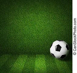 bal, voetbal gespeel veld, aanzicht, voetbal, of, bovenkant