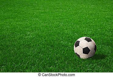 bal, voetbal, groen gras