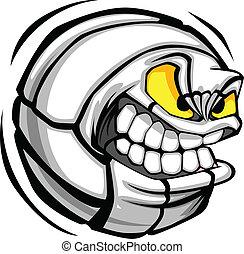 bal, volleybal, gezicht, vector, spotprent
