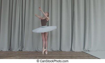 ballerina, grit, parket, gordijnen, dance., school, vloeren, achtergrond., licht, klassiek ballet, soepel, dans studio