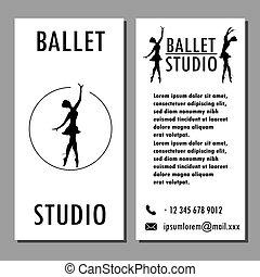 ballet, dans, kaart, school, spandoek, poster, of, studio, ontwerp