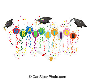 ballons, afgestudeerd, illustratie, viering