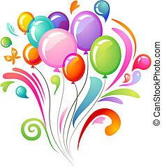 ballons, gespetter, kleurrijke