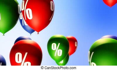 ballons, symbool, procent, (loop)