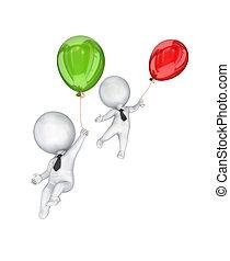 balloons., mensen, kleine, vliegen, 3d, lucht