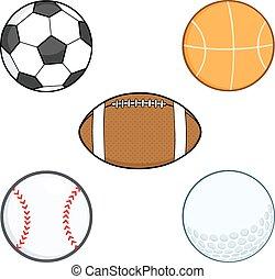 balls., sportende, set, spotprent, verzameling