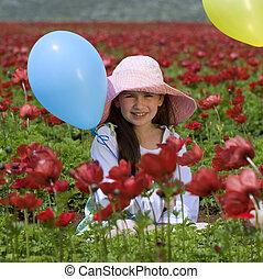 baloon, meisje, bloemen, rood
