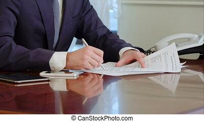 balpen, handtekening, hand, fake., papier, tekens & borden, pen., document, man