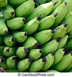 bananas., op, jonge, afsluiten, groene
